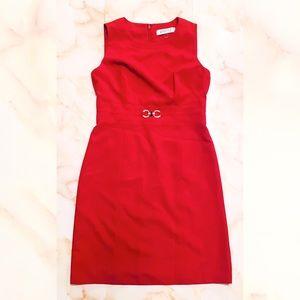 ▪️ macy's kasper petite belted red sheath dress 2P